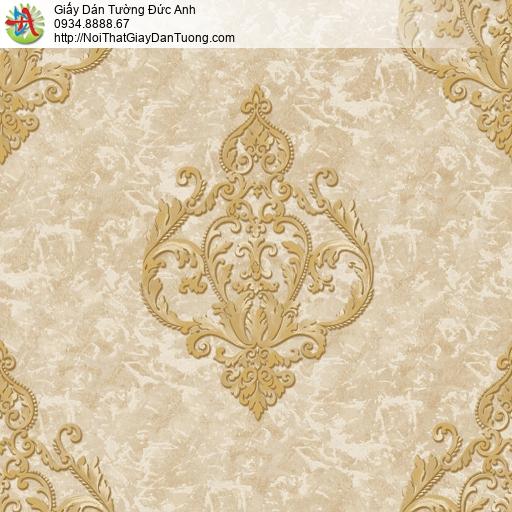 81223 Giấy dán tường phong cách Châu Âu màu vàng, cổ điển Châu Âu
