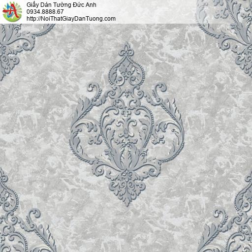 81224 Giấy dán tường cổ điển phong cách Châu Âu màu xám, hoa vă cổ