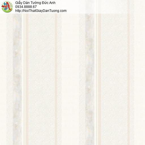 81241 Giấy dán tường dạng sọc to màu kem, giấy sọc lớn màu vàng nhạt