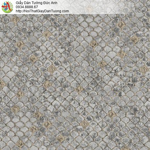 2014-2 Giấy dán tường họa tiết da rắn, hoa văn vảy cá mái ngói màu xám