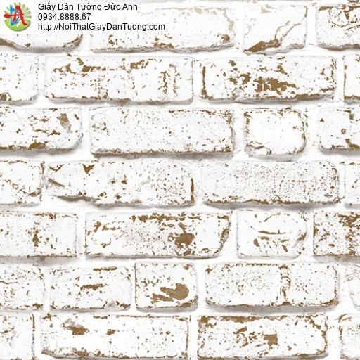 3001-1 Giấy dán tường giả gạch 3D, gạch 3D màu trắng vàng