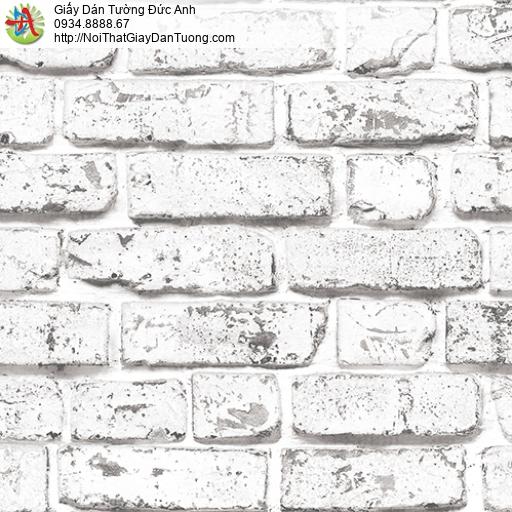 3001-2 Giấy dán tường giả gạch 3D màu trắng xám, giả gạch 3D màu xám
