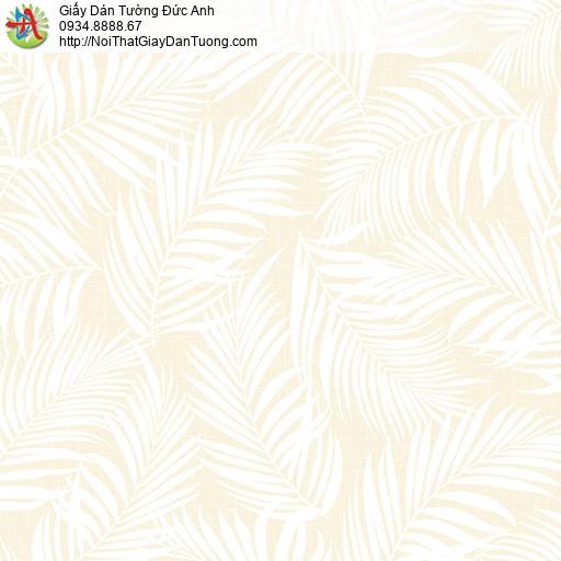 3004-1 Giấy dán tường hình lá cây, lá cây khô trên nền màu vàng nhạt