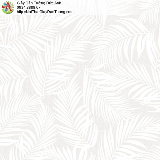 3004-2 Giấy dán tường lá cây khô, giấy dán tường lá cây màu trắng trên nền màu xám