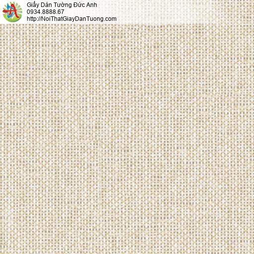 3010-2 Giấy dán tường họa tiết vải bố màu vàng nhạt, hoa văn ca rô chấm bi nhỏ
