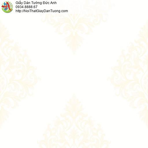 MG2002 Giấy dán tường hoa văn cổ điển màu vàng kem, giấy dán tường họa tiết Châu Âu