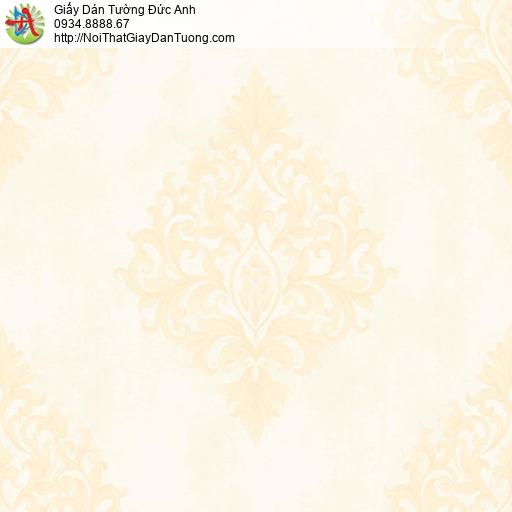 MG2003 Giấy dán tường họa tiết Châu Âu màu vàng nhạt, giấy dán tường hoa văn cổ điển
