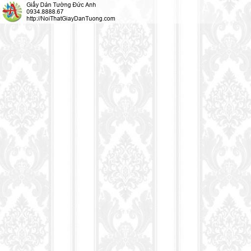 MG2011 Giấy dán tường sọc hoa văn màu trắng xám, giấy sọc bông tạo độ cao cho phòng