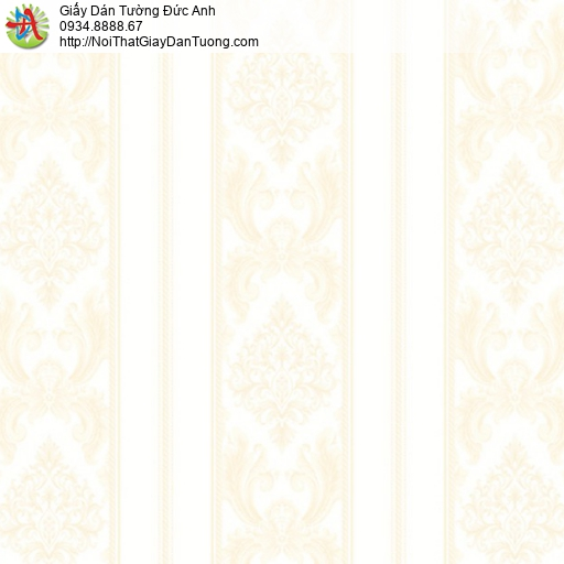 MG2012 Giấy dán tường hoa văn dạng sọc màu vàng nhạt, giấy kẻ sọc to màu vàng