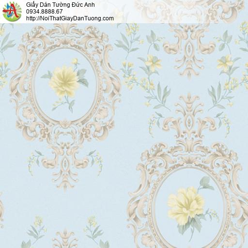 MG2032 Giấy dán tường hoa văn cổ điển màu xanh da trời, mô phỏng tấm gương tròn trên vách tường hoa lá