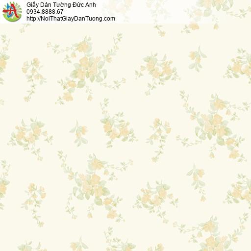 MG2052 Giấy dán tường những chùm bông hoa màu vàng, giấy dán tường hoa nhỏ màu vàng nhạt