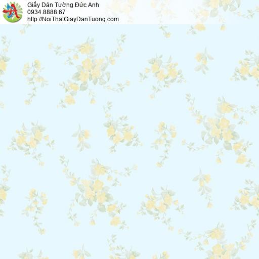 MG2054 Giấy dán tường chùm bông hoa nhỏ màu xanh da trời, giấy dán tường bông hoa nhỏ màu xanh lơ