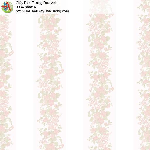 MG2061 Giấy dán tường hình hoa màu hồng dây leo, những dây hoa nhỏ leo trên bức tường