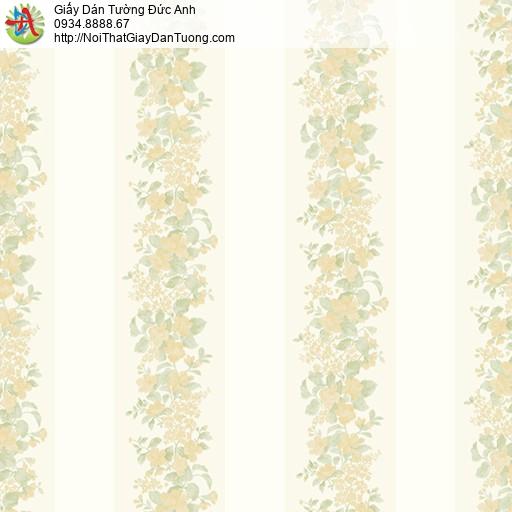 MG2062 Giấy dán tường dây hoa leo màu vàng kem, những dây hoa leo lên bức tường tọa thành đường kẻ sọc
