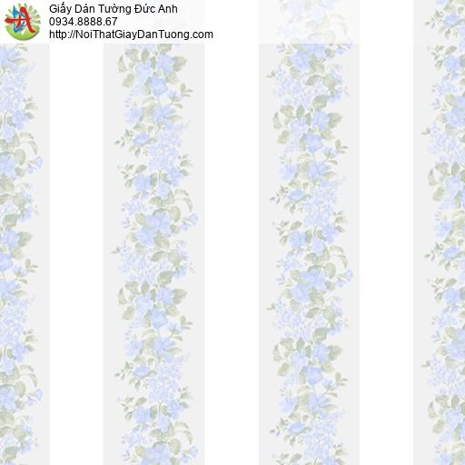 MG2063 Giấy dán tường dây leo màu xanh nhạt, những dây hoa leo tường tạo thành những kẻ sọc to