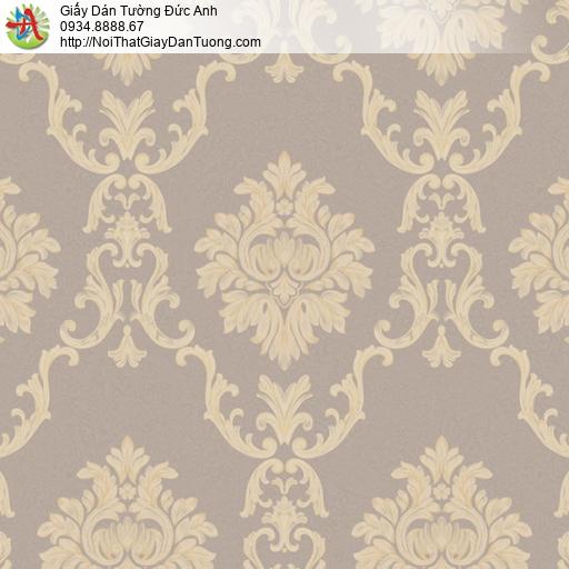 MG2073 Giấy dán tường phong cách Châu Âu, hoa văn họa tiết cổ điển màu nâu vàng