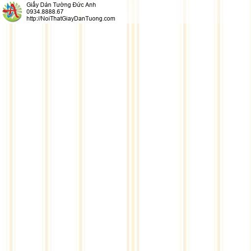 MG2081 Giấy dán tường kẻ sọc màu trắng, giấy dán tường sọc nhỏ màu vàng