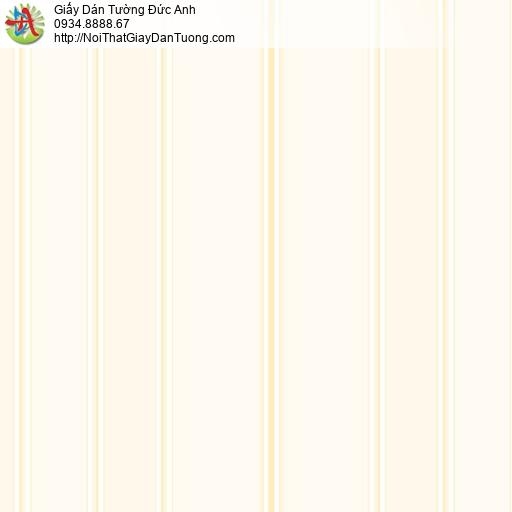 MG2082 Giấy dán tường kẻ sọc to màu vàng kem, giấy dán tường dạng sọc thẳng đứng tạo chiều cao cho phòng