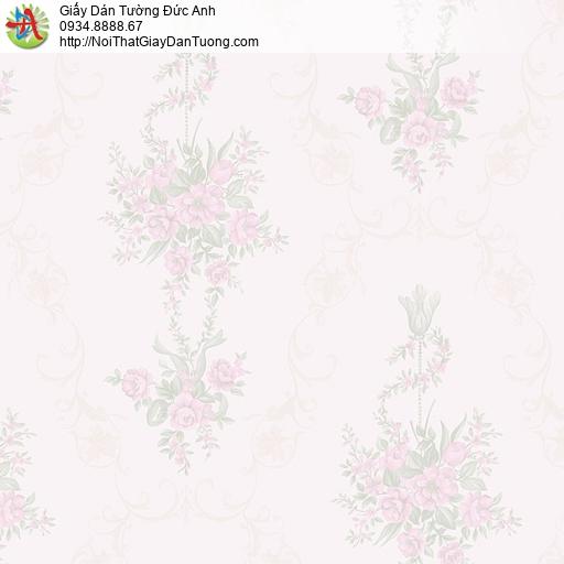MG2091 Giấy dán tường những bông hoa nhỏ màu hồng, giấy dán tường bông hoa rơi