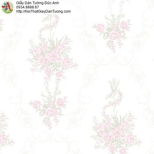 MG2092 Giấy dán tường những chùm bông hoa mà hồng nền màu kem dành cho phòng ngủ