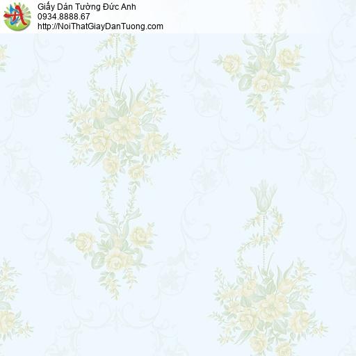 MG2094 Giấy dán tường những chùm bông hoa nhỏ màu xanh, giấy dán tường bông hoa to