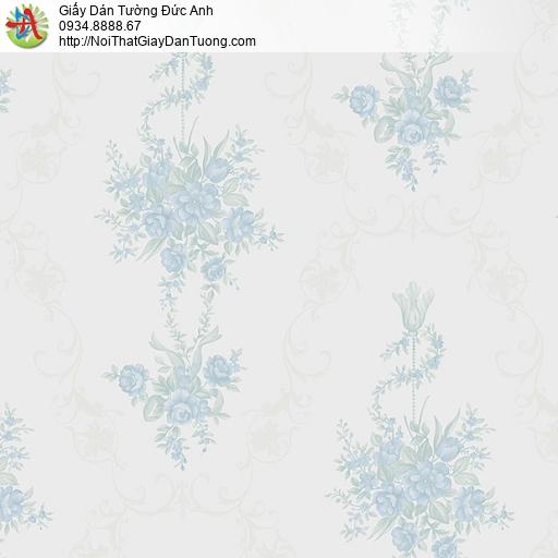 MG2095 Giấy dán tường những bông hoa màu xanh nhỏ trên nền giấy dán tường màu xám