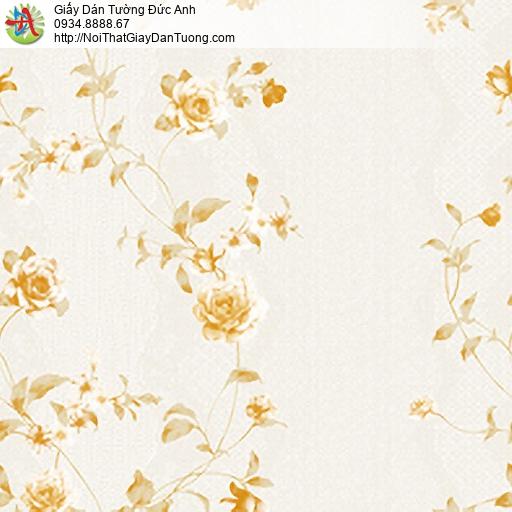 MG2111 Giấy dán tường dây hoa leo màu vàng nhạt, dây hoa leo tường đẹp cho phòng ngủ