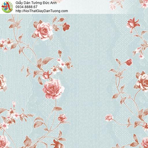 MG2113 Giấy dán tường bông hoa dây leo màu hồng nền màu xanh, hoa dây leo leo tường đẹp
