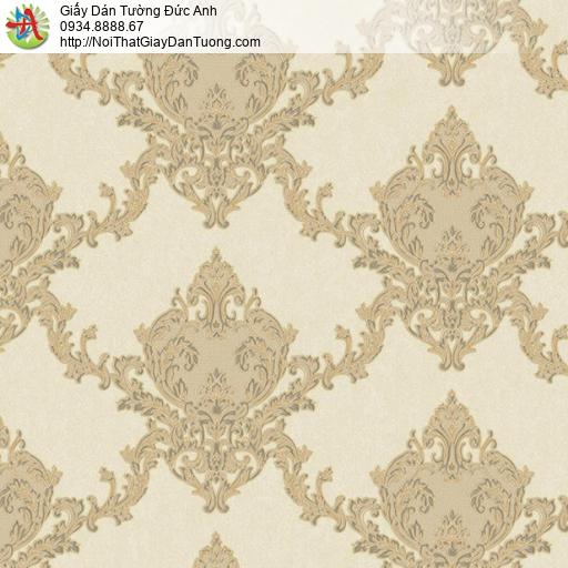 11071 Giấy dán tường cổ điển màu vàng, hoa văn to màu vàng cho điểm nhấn đẹp