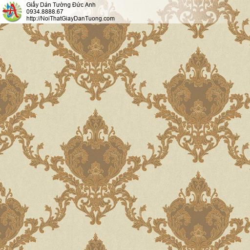 11073 Giấy dán tường cổ điển màu vàng đồng, giấy dán tường giá rẻ Bình Chánh