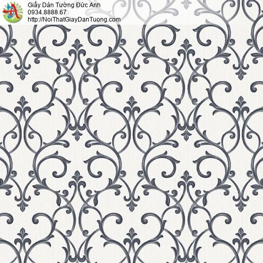 29018 Giấy dán tường đen trắng, hoa văn cổ điển họa tiết trắng đen