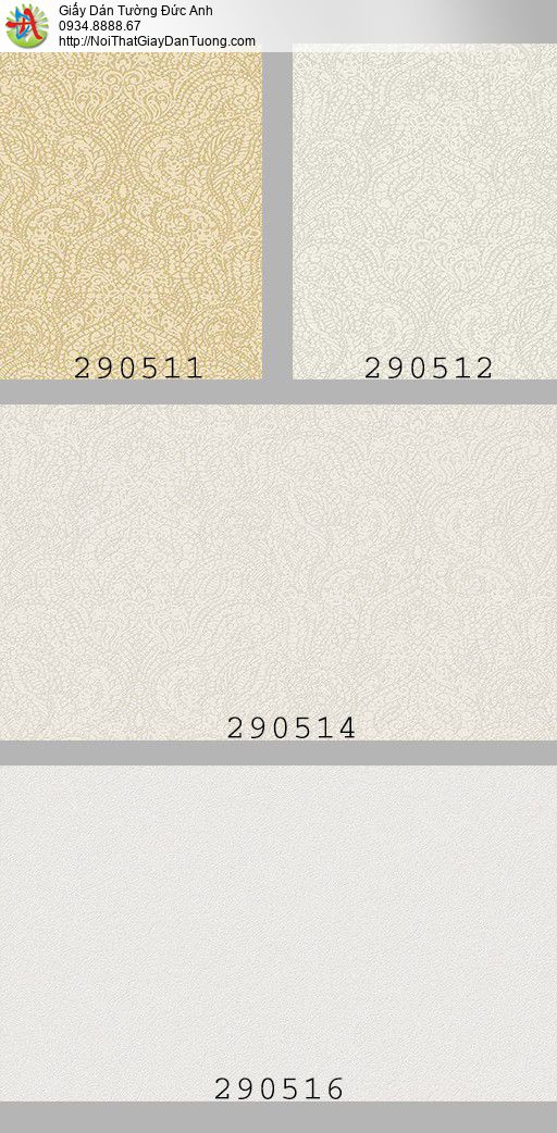 290511 Giấy dán tường màu vàng cổ điển phong cách Châu Âu