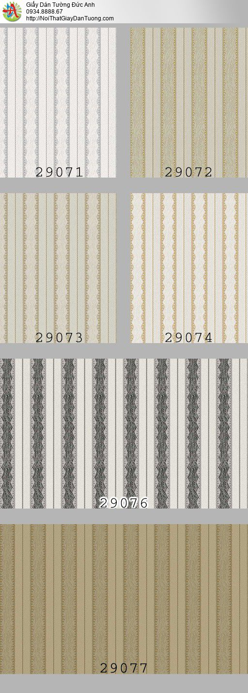 29076 Giấy dán tường sọc màu đen trắng, giấy dạng sọc màu trắng đen