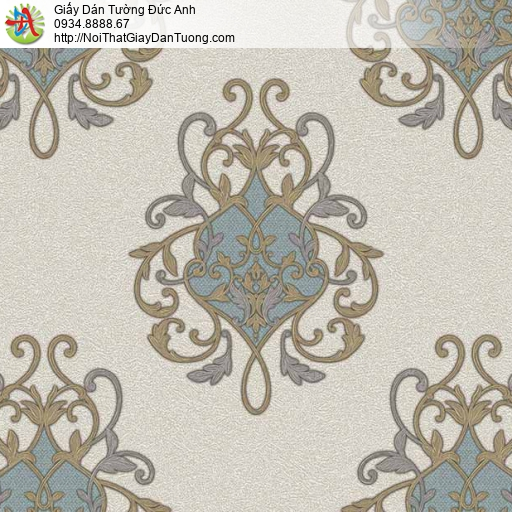 7121 Giấy dán tường cổ điển màu xanh nền màu xám, giấy dán tường Bình Chánh
