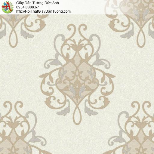 7124, Mẫu giấy dán tường cổ điển đẹp, Trang trí tường phong cách Châu Âu màu vàng kem