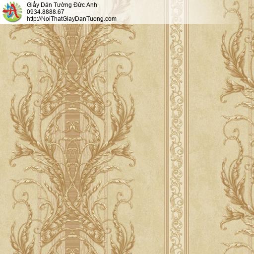 9665 Giấy dán tường màu vàng, họa tiết cổ điển phong cách Châu Âu