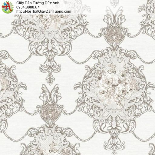 9671 Giấy dán tường cổ điển màu trắng, xem mẫu giấy dán tường tại nhà