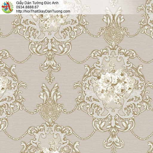 9674 Giấy dán tường cổ điển màu nâu, Shop bán giấy dán tường Bình Chánh Tphcm