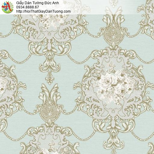 9675 Giấy dán tường hoa văn lớn cổ điển màu xanh lơ, công ty phân phối giấy dán tường