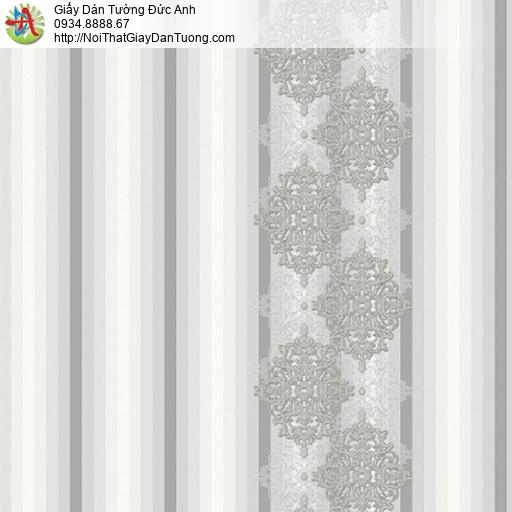 9691 Giấy dán tường dạng sọc có hoa văn màu xám, giấy dán tường kẻ sọc xám