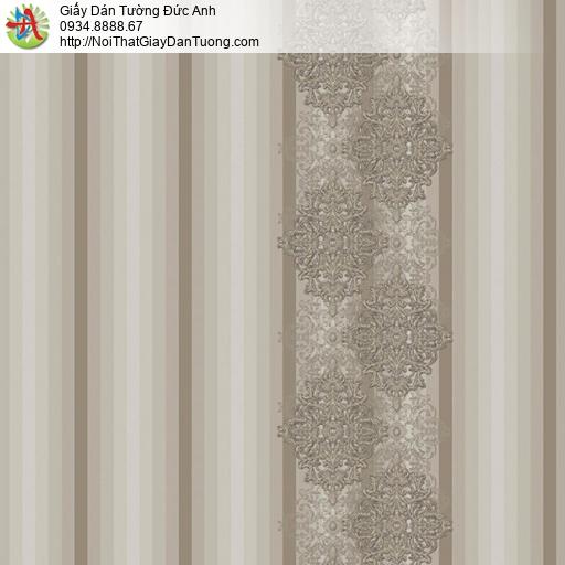 9692 Giấy dán tường sọc to màu nâu nhạt, giấy kể sọc lớn cổ điển