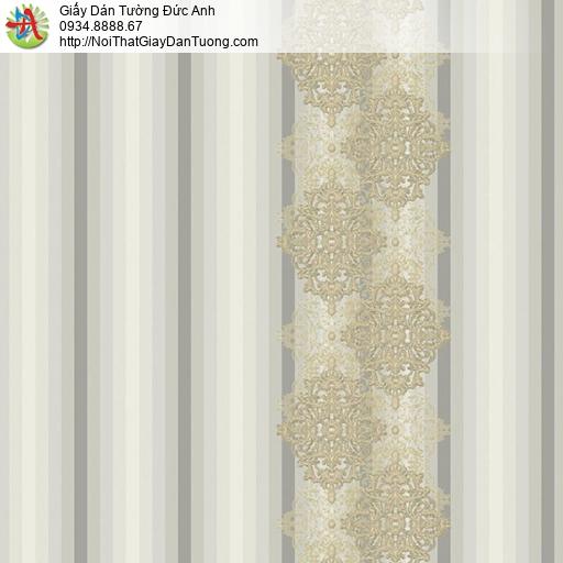 9693 Giấy dán tường sọc có hoa văn màu xám vàng, cách dán giấy tường đơn giản nhất