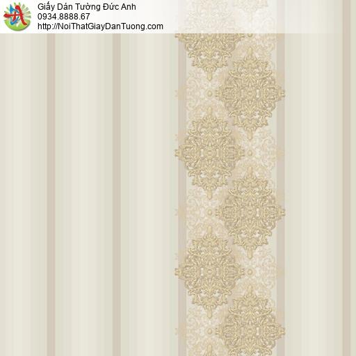 9694 Giấy dán tường dạng kẻ sọc màu vàng, giấy sọc bản to màu vàng nhạt