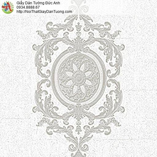 53302-2 Giấy dán tường hoa văn cổ điển, mang phong cách Châu Âu màu xám trắng, trắng xám