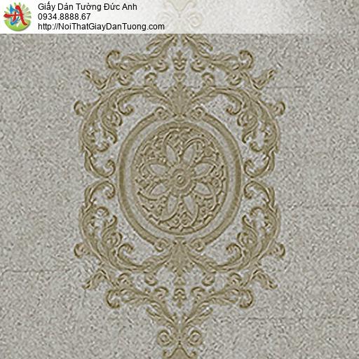 53302-3 Giấy dán tường cổ điển Châu Âu màu xám vàng