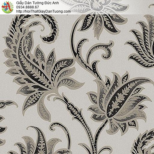 53305-3 Giấy dán tường hoa lá màu kem đen, hoa lá màu đên điểm nhấn