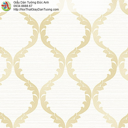 53306-1 Giấy dán tường hoa văn họa tiết màu vàng trắng, giấy dán tường cổ điển
