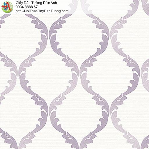 53306-2 Giấy dán tường hoa văn màu tím cổ điển Châu Âu