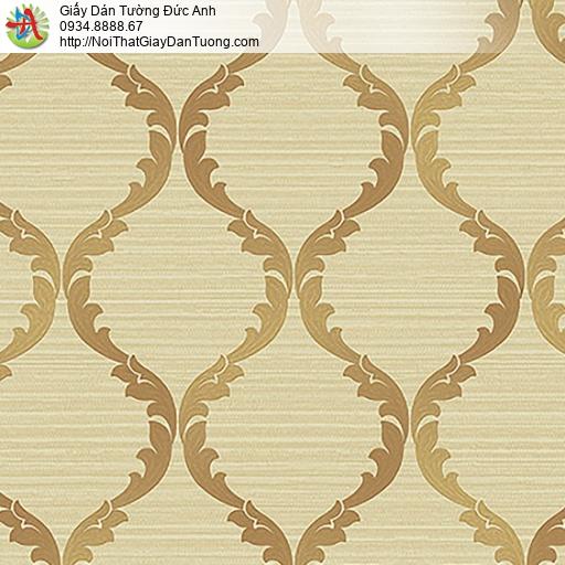 53306-3 Giấy dán tường hoa văn cổ điểnn màu vàng đồng, giấy dán tường quận Bình Tân