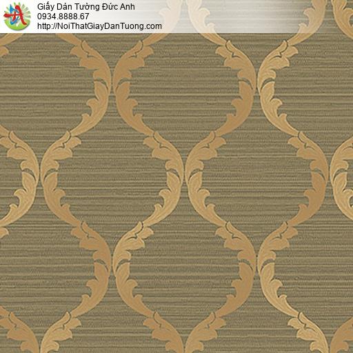 53306-4 Giấy dán tường hoa văn cổ điển màu nâu vàng
